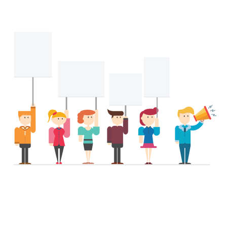 urgent announcement: Business people hold blank paper or banner for use in presentations, vector illustration