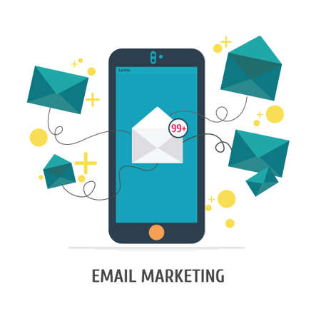 correo electronico: Mobile app - email marketing, Vector. Vectores