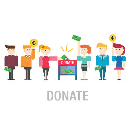 donate: Many people donate at donation box,vector,illustration.