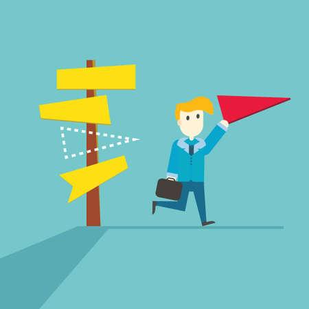 choosing: Businessman choosing of a choice,vector,illustration.
