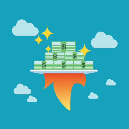 growing money: Growing money with rocket, Business concept,vector,illustration.