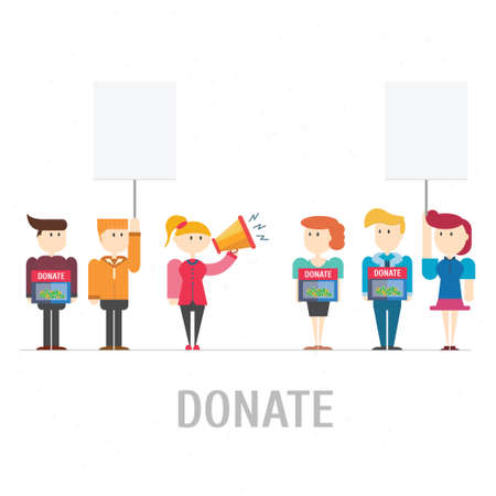 polling booth: People donate at donation box,vector,illustration. Illustration