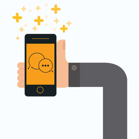 messenger: Businessman holding Smartphone with  instant messenger chat, vector