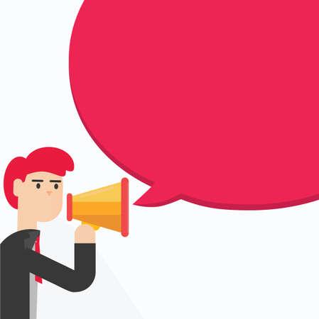 mega phone: Business man speaking through megaphone with speech bubble.