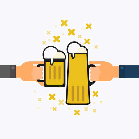 toasting: Toasting with beer,success celebration vector illustration. Illustration