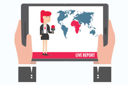 vrouw met tablet: Hands holding the tablet watching a report that woman journalist,vector,illustration.