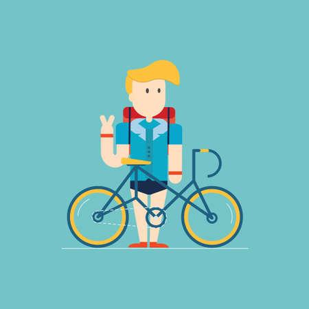 자전거와 힙 스터 사람, 벡터 일러스트 레이 션입니다.