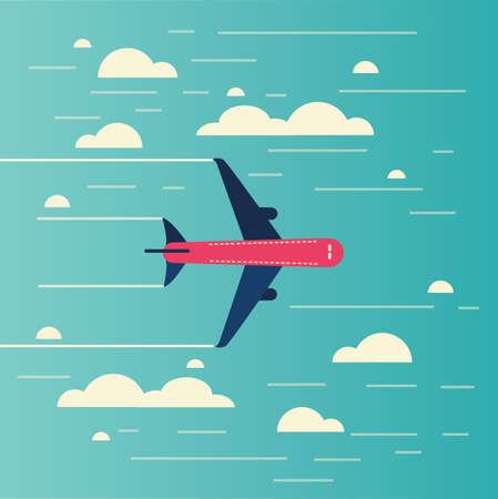 푸른 하늘, 벡터 일러스트 레이 션에에서 구름을 통해 비행하는 비행기. 일러스트
