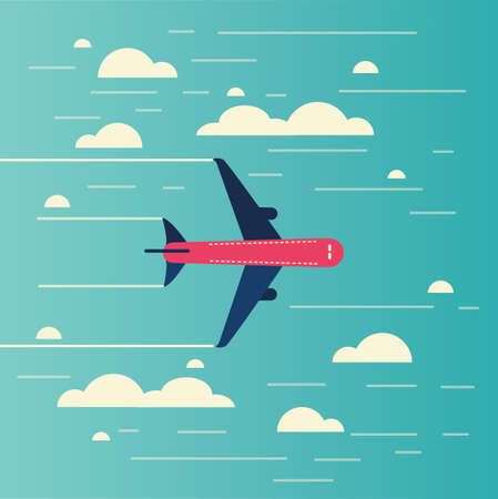 air liner: Airplane flying through clouds in the blue sky,Vector illustration.