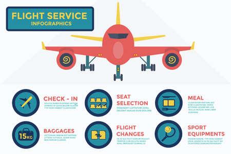 비행 서비스 인포 그래픽, 벡터, 그림.