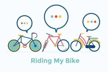 자전거, 연설 거품, 벡터, 그림을 타고.