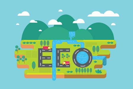 생태 배경, 녹색 지구 개념, infographics입니다.