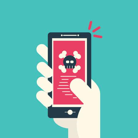 바이러스가 스마트 폰 화면에서 발견되고 해골 이미지가 화면에 표시됩니다. 위협, 모바일 악성 코드, 현대 평면 디자인 벡터, 그림.