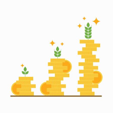 황금 동전, 금융 성장 개념, 벡터의 스택.