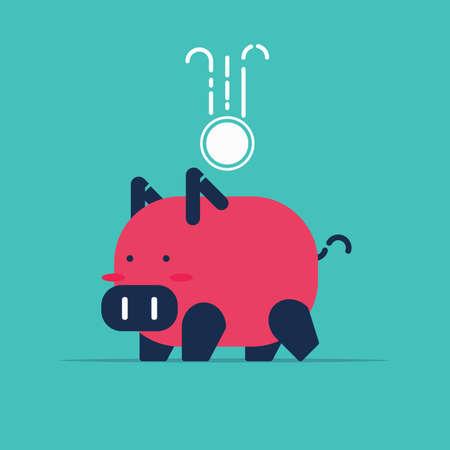 동전, 그림, 벡터 돼지 저금통입니다.