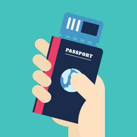 티켓을 손 들고 여권입니다. 여권 아이콘, 여행 개념, 벡터, 그림.