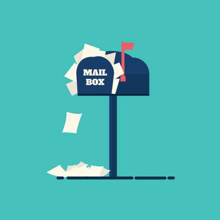 完全なメールボックス、レター ボックス、フラット デザイン、イラスト。