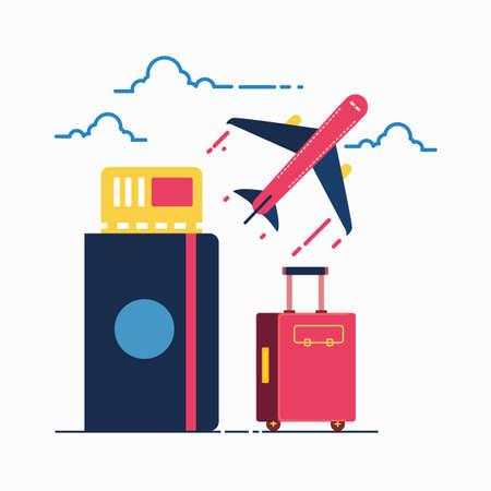 여행 개념입니다. 가방, 여권, 항공권 및 비행기.