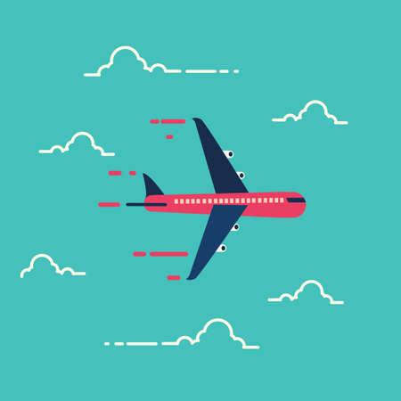 공기, 교통, 그림에서에서 비행기입니다. 스톡 콘텐츠