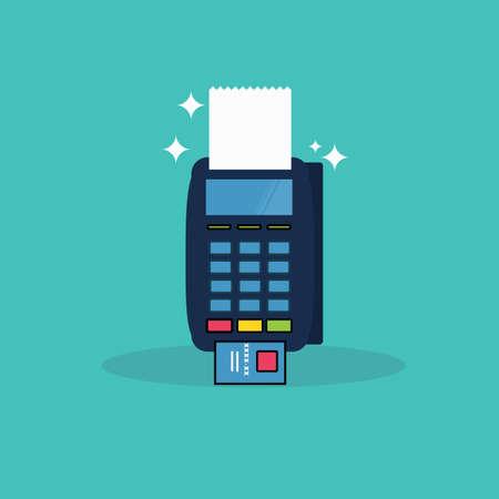 reciept: Pos terminal,Credit card payment,illustration.