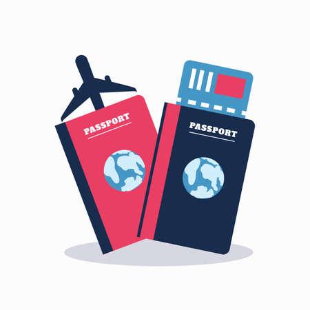 티켓이있는 여권. 항공 여행 개념입니다. 평면 디자인