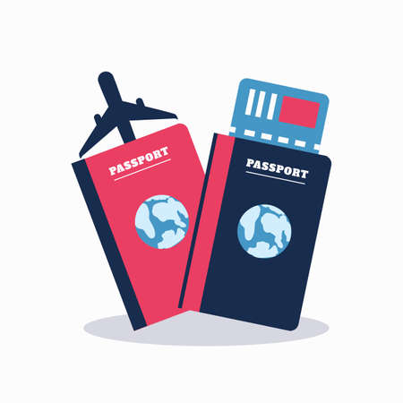 emigration: Passport with tickets. Air travel concept. Flat Design Stock Photo