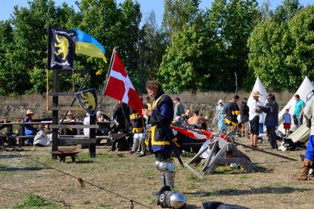 historical battle: International Championship on the historical medieval battle Call of heroes. It passes near Kiev, in the village of Kopachev, Ukraine, 19-20 September 2015.  Editorial
