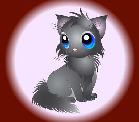grey cat: Illustration of fluffy grey Cat