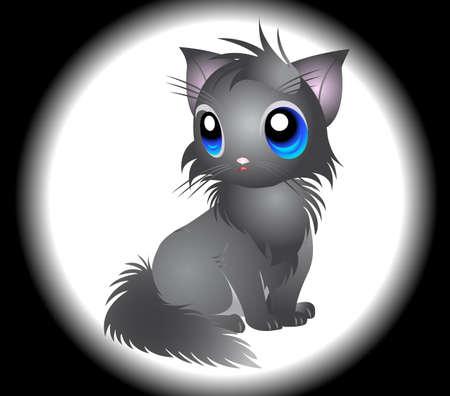 purring: Illustration of fluffy grey Cat