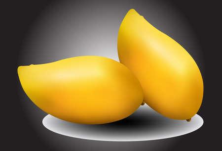 mangoes: yellow mangoes on black background