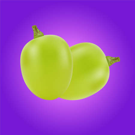 purple grapes: Berry of green grapes. It is isolated on a purple background