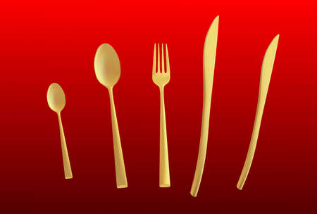 fork knife: Cutlery set with Fork, Knife and Spoon isolated vector