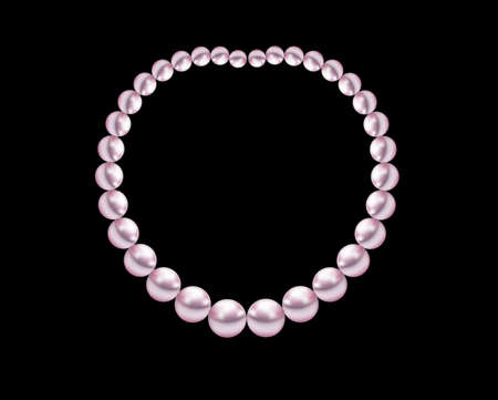 jewelry background: pearl necklace jewelry illustration on black background Illustration