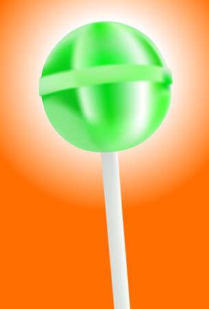 sucking: green lollipop on orange background