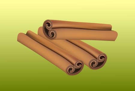 fragrant: Fragrant cinnamon sticks isolated on green background