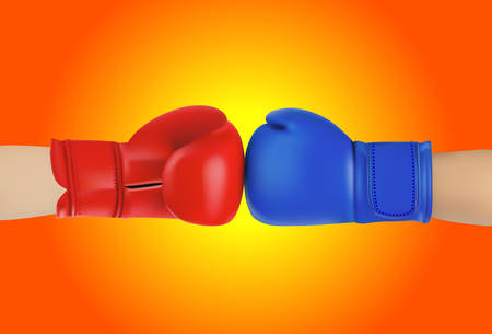 knocking: Boxing gloves on white background Illustration