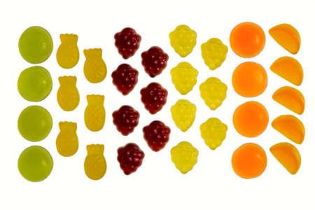 Fruit gummi candies assortment on white