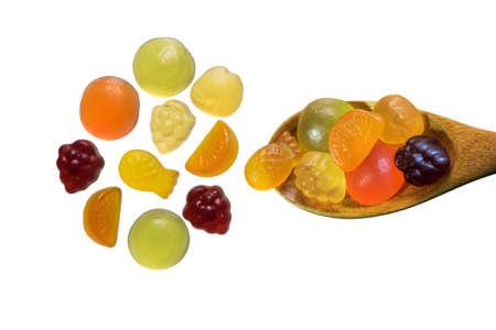 gummi: Fruit gummi candies assortment on white