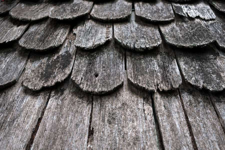 cedar shakes: old hand made roof made from black wood  roof Stock Photo