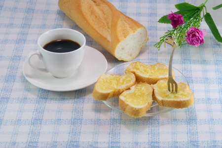 coffee with Garlic and herb bread slices