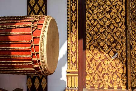 thai musical instrument: big drum musical instrument antique in Buddhist temple at North of Thailand