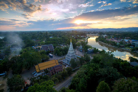 Wat Chedi Liam, square temple historical landmark Chiangmai, Thailand on top view