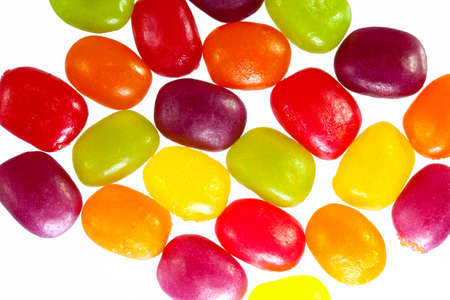 the jelly beans border on white background