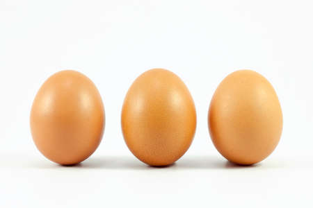 three eggs isolated on white background Banque d'images