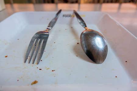empty dish table done spoon fork Stok Fotoğraf