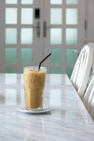 Thai ice coffee on the table