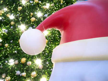 christmas tree light with santa Banco de Imagens