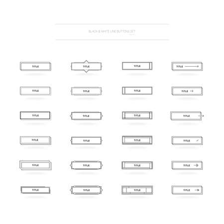 Black and White Buttons Set for UI and UX Designs