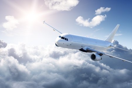 turbulence: Clear airplane in the sky - Passenger Airliner  aircraft