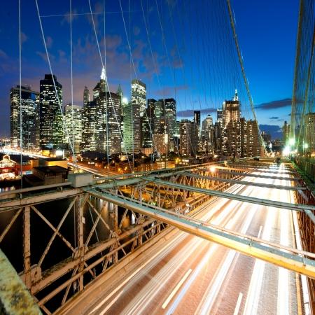 new york night: Manhattan from brooklyn bridge